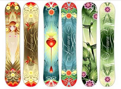 Ilustraciones para tablas de snowboard Salomon