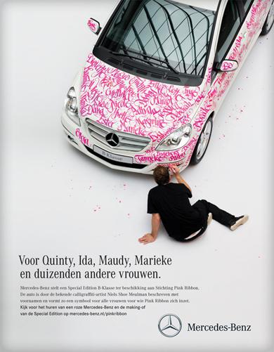 Customización de vehículo Mercedes-Benz para campaña publicitaria.